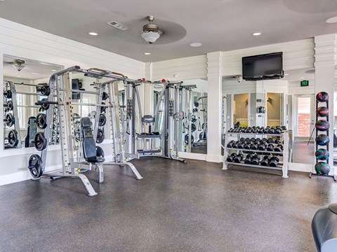 State of the art fitness center with dumbbells and weight machines